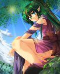 1girl chiki dress fire_emblem fire_emblem:_ankoku_ryuu_to_hikari_no_tsurugi fire_emblem:_monshou_no_nazo fuussu_(21-kazin) green_eyes green_hair hair_ornament jewelry long_hair pink_dress pointy_ears ponytail ribbon short_dress sitting smile solo