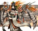 1girl angel_wings black_hair breasts detached_sleeves flower gia hair_flower hair_ornament hair_over_one_eye holding_staff japanese_clothes long_hair original red_eyes sideboob signature skull solo staff standing wings