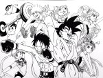 3girls 5boys abs arms_up asahina_mirai atom_(tetsuwan_atom) barbell bare_chest bishoujo_senshi_sailor_moon bottle bow boxing_gloves cat choker circlet commentary_request crayon_shin-chan crossover cure_magical cure_miracle dougi dragon_ball dragon_ball_z drinking elbow_gloves facial_mark frown gloves goggles grin hair_bow hat heart highres ink_(medium) izayoi_liko jersey jibanyan lee_(dragon_garou) leotard long_hair mahou_girls_precure! male_swimwear mini_hat mini_witch_hat monkey_d_luffy monochrome multiple_boys multiple_girls multiple_tails muscle naruto naruto_shippuuden nohara_shinnosuke notched_ear olympics one_piece open_hands open_mouth parody precure sailor_moon scar serious shoes short_shorts shorts sidelocks smile sneakers son_gokuu swim_trunks swimwear tail tetsuwan_atom traditional_media tsukino_usagi twintails two_tails uzumaki_naruto weightlifting witch_hat youkai youkai_watch