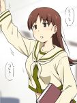 1girl :o arm_up beige beige_shirt blush book breasts brown_eyes brown_hair collarbone expressionless eyebrows eyebrows_visible_through_hair holding holding_book ikari_manatsu kantai_collection long_hair long_sleeves motion_lines neckerchief ooi_(kantai_collection) open_mouth outstretched_arm remodel_(kantai_collection) sailor_collar school_uniform serafuku shirt solo speech_bubble talking text translated