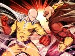 2boys abs action anpanman anpanman_(character) asu_tora bald battle belt blank_eyes bodysuit cape clenched_hands clenched_teeth closed_mouth commentary_request crossover dust gloves glowing glowing_eyes light_frown male_focus multiple_boys muscle one-punch_man profile red_nose saitama_(one-punch_man) spread_legs teeth visible_air