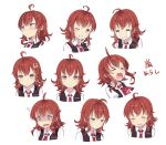 >:( >_< /\/\/\ 1girl :> ;d =_= ^_^ ^o^ ahoge anger_vein angry arashi_(kantai_collection) black_vest blush brown_eyes closed_eyes cnm collared_shirt crossed_bangs crying expressionless expressions eyebrows eyebrows_visible_through_hair head_tilt jitome kantai_collection laughing looking_afar multiple_views necktie one_eye_closed open_clothes open_mouth open_vest red_necktie redhead shaded_face shirt short_hair sidelocks signature simple_background smile streaming_tears surprised tears upper_body vest white_background white_shirt wince wing_collar