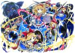 1girl alice_margatroid black_gloves blonde_hair blue_dress blue_eyes bow bowtie capelet commentary_request danmaku doll_joints dress fingerless_gloves full_body gloves goliath_doll hair_bow hairband hourai_doll izuna_nie lance lolita_hairband looking_at_viewer polearm red_bow red_bowtie sash shanghai_doll shield short_hair smile touhou weapon