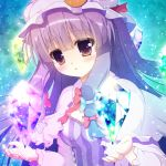 15_(tooka) 1girl blush bow capelet hat hat_bow long_hair mob_cap open_mouth patchouli_knowledge philosopher's_stone purple_hair solo touhou violet_eyes