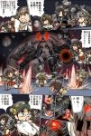 6+girls ahoge aircraft airplane akagi_(kantai_collection) arrow bangs bikini bikini_top black_hair bow_(weapon) brown_hair chaos closed_eyes comic damaged detached_sleeves drawing_bow elbow_gloves explosion firing fubuki_(kantai_collection) giantess glasses gloves glowing glowing_eyes glowing_mouth green_eyes grey_eyes grey_hair hair_ribbon hairband hakama haruna_(kantai_collection) headgear hiei_(kantai_collection) hisahiko holding holding_weapon japanese_clothes jintsuu_(kantai_collection) kaga_(kantai_collection) kantai_collection kirishima_(kantai_collection) kongou_(kantai_collection) long_hair long_sleeves low_ponytail multiple_girls muneate nagato_(kantai_collection) nontraditional_miko ocean open_mouth orange_eyes oversized_object parted_bangs pleated_skirt pointing quiver red_eyes red_hakama ribbon rigging scared school_uniform serafuku shell_casing shinkaisei-kan short_hair short_sleeves side_ponytail skirt southern_ocean_war_oni standing standing_on_liquid swimsuit thigh-highs translation_request turret twintails weapon white_legwear wide_sleeves yumi_(bow) zuikaku_(kantai_collection)