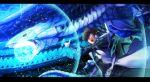 1boy akagi_asahito blue-eyes_white_dragon blue_eyes brown_hair card dragon duel_monster highres kaiba_seto male_focus short_hair yuu-gi-ou yuu-gi-ou_duel_monsters