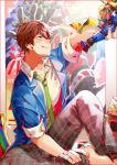 1boy :d ;d action_figure bandaged_fingers barefoot brown_hair ensemble_stars! green_necktie jacket ji_yu looking_up male_focus morisawa_chiaki necktie one_eye_closed open_clothes open_jacket open_mouth pants plaid plaid_pants poster_(object) school_uniform sitting sleeves_folded_up sleeves_pushed_up smile solo sparkle
