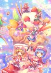 6+girls adapted_costume bat_wings black_dress blonde_hair blue_eyes blue_hair book braid capelet coat corset crescent daiyousei doughnut dress drooling eating flandre_scarlet flat_chest flying_sweatdrops food green_dress hair_ribbon hat highres hong_meiling ice_cream izayoi_sakuya juliet_sleeves koakuma long_hair long_sleeves maid maid_headdress mob_cap multiple_girls open_book open_clothes open_coat patchouli_knowledge pink_dress pjrmhm_coa pocky puffy_sleeves purple_hair reading red_dress red_eyes redhead remilia_scarlet ribbon rumia silver_hair sitting smile star striped striped_dress sundae teapot touhou tray twin_braids very_long_hair violet_eyes whipped_cream wide_sleeves wings