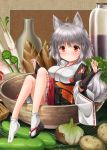 1girl animal_ears blush bottle breasts bridal_gauntlets detached_sleeves in_bowl in_container inubashiri_momiji kei_kei kourindou_tengu_costume large_breasts long_sleeves minigirl obi red_eyes sash short_hair silver_hair sitting solo tail touhou wide_sleeves wolf_ears wolf_tail