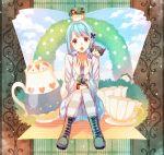 5boys :3 alice_(wonderland) alice_(wonderland)_(cosplay) alice_in_wonderland animal_ears blue_hair boots bush cat_ears clouds cross-laced_footwear cup ensemble_stars! flower hasumi_keito hat heart kori_(etinop) male_focus multiple_boys pantyhose parody rabbit_ears red_rose rose rose_bush sakuma_ritsu shino_hajime sitting sky suou_tsukasa teacup teapot tenshouin_eichi top_hat white_rose