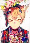 1boy akiakane animal_ears bangs blonde_hair blurry branch checkered cherry_blossoms choker closed_mouth cross_eyed depth_of_field diamond_(shape) eyebrows fang_out fangs flower gradient hair_ornament hairband highres japanese_clothes jewelry leaf male_focus marble necklace on_nose original petals plant rope shade simple_background solo spring_(season) string tassel upper_body white_background yellow_eyes