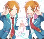 2boys ;) aoi_hinata aoi_yuuta brothers ensemble_stars! fang green_eyes hands_together headphones heart highres jacket looking_at_viewer male_focus multiple_boys necktie one_eye_closed open_clothes open_jacket orange_hair red_necktie school_uniform siblings smile twins yakusuke