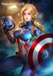 1girl avengers:_age_of_ultron belt blonde_hair blue_eyes captain_america genderswap genderswap_(mtf) headwear_removed helmet helmet_removed long_hair looking_at_viewer marvel nudtawut_thongmai ponytail shield solo