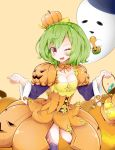 1girl ;d braid breasts candy choker cleavage crown_braid flower_knight_girl food_themed_clothes food_themed_hair_ornament ghost green_hair hair_ornament looking_at_viewer nimu_(aruka7x21) one_eye_closed open_mouth orange_skirt pepo_(flower_knight_girl) pumpkin_hair_ornament red_eyes short_hair skirt smile solo squash yellow_background