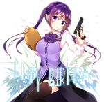 1girl beretta_92 blush breasts garter_straps gochuumon_wa_usagi_desu_ka? gun handgun highres long_hair looking_at_viewer orihi_chihiro pistol purple_hair rabbit_house_uniform smile solo tedeza_rize tray trigger_discipline twintails violet_eyes weapon