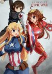 ahoge black_hair blonde_hair blue_eyes breasts brown_eyes brown_hair captain_america captain_america_(cosplay) captain_america_civil_war crossover fubuki_(kantai_collection) highres iowa_(kantai_collection) iron_man iron_man_(cosplay) kantai_collection kongou_(kantai_collection) large_breasts marvel setia_pradipta shield star star-shaped_pupils symbol-shaped_pupils violet_eyes winter_soldier winter_soldier_(cosplay)