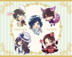 5boys alice_(wonderland) alice_(wonderland)_(cosplay) alice_in_wonderland animal_ears aqua_eyes black_hair blue_eyes bow braid brown_hair card cat_ears cat_tail cheshire_cat cheshire_cat_(cosplay) cosplay crossdressing crown cup dress fang grin hair_bow hat horikawa_kunihiro ichigo_seika izumi-no-kami_kanesada kashuu_kiyomitsu mad_hatter mad_hatter_(cosplay) male_focus monocle multiple_boys nagasone_kotetsu open_mouth playing_card pocket_watch ponytail queen_of_hearts queen_of_hearts_(cosplay) rabbit_ears red_eyes side_braid smile tail teacup top_hat touken_ranbu watch white_rabbit white_rabbit_(cosplay) yamato-no-kami_yasusada yellow_eyes