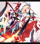 1girl asymmetrical_hair blonde_hair blood blood_on_face boots border commentary_request crystal flandre_scarlet glowing glowing_eye gradient gradient_background hat hat_ribbon ichiyan long_skirt mob_cap nail_polish open_mouth puffy_sleeves red_eyes ribbon shirt short_sleeves side_ponytail skirt skirt_set smile solo sword torn_clothes torn_shirt torn_skirt torn_sleeves touhou vest weapon wings wrist_cuffs