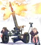 >_< 2girls :3 artillery black_legwear closed_eyes convenient_censoring covering_ears daito explosion fire firing full_body gift kneehighs knees_up loafers machinery missile mortar_(weapon) multiple_girls original ribbon school_uniform shoes simple_background spotting_scope squatting thighs valentine weapon wheel white_background wince x3