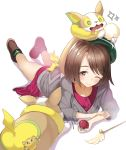1girl afterimage blush boots brown_eyes brown_footwear brown_hair closed_mouth collared_dress commentary_request dress full_body gen_5_pokemon gen_8_pokemon green_headwear green_legwear grey_cardigan holding holding_poke_ball hood hood_down hooded_cardigan joltik lying on_stomach one_eye_closed pink_dress poke_ball poke_ball_(generic) pokemon pokemon_(creature) pokemon_(game) pokemon_swsh sakasa_(guranyto) shadow socks sparkle tail_wagging tam_o'_shanter white_background yamper yuuri_(pokemon)