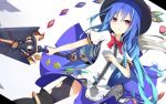 >:) 1girl black_hat black_legwear blue_dress blue_hair bow bowtie dress dress_shirt food fruit gradient_hair hat hinanawi_tenshi ichiyan lance leaf long_hair looking_at_viewer multicolored_hair peach polearm puffy_short_sleeves puffy_sleeves rainbow_gradient rainbow_order red_bow red_bowtie red_eyes shirt short_sleeves smile solo thigh-highs touhou tsurime weapon white_blouse white_shirt wing_collar yin_yang