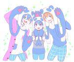 3boys fuyumi_jun idolmaster idolmaster_side-m iseya_shiki male_focus multiple_boys pants pengpig plaid plaid_pants sparkle sparkling_eyes wakazato_haruna