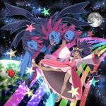 1girl big_hair brown_eyes crown dark_skin dragon dress earth full_body full_moon hair_rings highres hydreigon iris_(pokemon) long_hair moon open_mouth outer_space outstretched_arms pink_dress poke_ball pokemon pokemon_(creature) pokemon_(game) pokemon_bw2 purple_hair rainbow sandals space star star_(sky) tm_(hanamakisan) two_side_up very_long_hair wide_sleeves