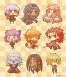 3girls 6+boys :d ;) ahoge assassin_(fate/extra) billy_the_kid_(fate/grand_order) black_legwear blonde_hair blue_hair blush braid brown_eyes checkered checkered_background chibi chinese_clothes crown cu_chulainn_alter_(fate/grand_order) daifuku_mogu dark_skin detached_sleeves fangs fate/extra fate/grand_order fate_(series) florence_nightingale_(fate/grand_order) geronimo_(fate/grand_order) grey_eyes helena_blavatsky_(fate/grand_order) highres holding holding_weapon holster hood lion long_hair looking_at_viewer medb_(fate/grand_order) multiple_boys multiple_girls one_eye_closed open_mouth orange_eyes orange_hair pink_hair pleated_skirt polearm ponytail purple_hair rama_(fate/grand_order) redhead skirt sleeveless smile spear tail thigh-highs thomas_edison_(fate/grand_order) topless violet_eyes weapon white_legwear