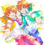 2boys akame_(eckesachs) aoi_kyosuke aoi_yusuke ball beanie green-framed_glasses hat idolmaster idolmaster_side-m multiple_boys orange_eyes orange_hair siblings soccer_ball twins w_(idolmaster)