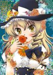 blonde_hair blush braid fingernails flower hat kamishiro kirisame_marisa nail_polish nails ribbon solo touhou witch_hat yellow_eyes
