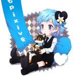 blue_eyes blue_hair boots child chobi_(pixiv) collar dog flower hat heart mini_top_hat nardack necktie pet pixiv puppy ribbon shiba_inu short_hair sitting smile top_hat