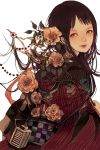 brown_hair flower long_hair looking_back nogaru_wako original
