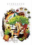 box butterfly cake cardboard_box flower food gekokujou_(vocaloid) gensou-ron_(vocaloid) green_eyes hair_ornament hair_ribbon hairclip headphones highres kagamine_rin knee_hug knees_on_chest leg_hug pastry polearm rainbow ribbon short_hair shorts soratobazu_(vocaloid) steamroller tamura_hiro tea treasure_chest trident vocaloid weapon