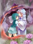 :p ;p bad_id flower ghost hat highres hitodama hitoshise hydrangea karakasa karakasa_obake multiple_girls pink_eyes pink_hair purple_eyes rain saigyouji_yuyuko shared_umbrella short_hair tatara_kogasa tongue touhou umbrella violet_eyes wink