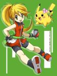1girl ageha bike_shorts blonde_hair chuchu_(pokemon) cosplay flower hair_flower hair_ornament holding holding_poke_ball no_bandana odamaki_sapphire odamaki_sapphire_(cosplay) pikachu poke_ball pokemon pokemon_(creature) pokemon_special ponytail sapphire_(pokemon)_(cosplay) title_drop yellow_(pokemon)