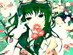 daisy daisy_(flower) flower goggles green_eyes green_hair gumi headphones highres meola solo tears vocaloid