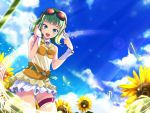 flower goggles goggles_on_head green_eyes green_hair gumi hand_on_headphones headphones leg_garter musical_note panties sho_(artist) short_hair sky solo sunbeam sunflower sunlight underwear vocaloid wrist_cuffs