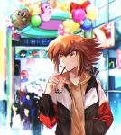 1boy bangs black_jacket brown_eyes brown_hair brown_sweater drinking drinking_straw eyebrows_visible_through_hair hair_between_eyes hand_in_pocket hood hood_down hooded_sweater jacket kuriboh long_sleeves male_focus multicolored_hair open_clothes open_jacket outdoors shiny shiny_hair sk816 solo_focus sweater two-tone_hair yuu-gi-ou yuu-gi-ou_gx yuuki_juudai