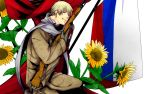 1280x800 axis_powers_hetalia blonde_hair flag flower gun highres male military military_uniform purple_eyes rifle russia_(hetalia) russian_flag scarf solo sunflower todoroki_sora uniform violet_eyes wallpaper weapon