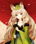 bad_id bare_shoulders blush breasts cherry_blossoms cleavage collarbone fox_ears green_eyes inari japanese_clothes kimono leaf leaf_on_head leaves long_hair min_(citrine) oboro_muramasa oboro_muramasa_youtouden off_shoulder oriental_umbrella silver_hair solo umbrella vanillaware very_long_hair wavy_hair yuzuruha
