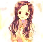 :d blush brown_hair crown flower flower_crown head_wreath long_hair open_mouth red_eyes smile takeda_mika