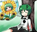 antenna antennae cape closed_eyes dreaming drooling flower green_hair hitsuji_bako kazami_yuuka nose_bubble saliva short_hair sleeping spoken_face spoken_flower sunflower thought_bubble touhou wriggle_nightbug