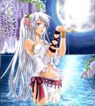 blue_eyes bracelet flower jewelry midriff moon navel original ribbon silver_hair traditional_media trimcolor water