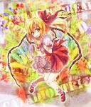 flandre_scarlet flower hair_ribbon hat mary_janes miya_(artist) miya_(tsumazukanai) ponytail rainbow_order red_eyes ribbon shoes short_hair side_ponytail solo touhou wings wrist_cuffs