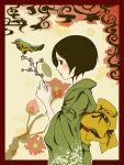 bird black_eyes black_hair blush flower japanese_clothes original profile red_border