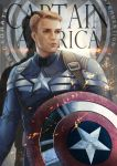 1boy absurdres aqie blonde_hair blue_eyes captain_america captain_america_the_winter_soldier highres marvel shield solo steve_rogers superhero
