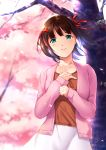 1girl absurdres amami_haruka aqua_eyes bangs blurry brown_hair cardigan cherry_blossoms closed_mouth collarbone cowboy_shot depth_of_field dragon@harry eyebrows eyebrows_visible_through_hair floating_hair flower hair_ribbon hand_on_own_chest highres idolmaster looking_at_viewer open_cardigan open_clothes outdoors petals red_ribbon ribbon short_hair skirt smile solo spring_(season) tree two_side_up white_skirt wind