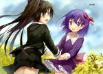 2girls absurdres black_hair black_ribbon black_skirt blue_eyes dress efe eye_contact fate/stay_night fate/zero fate_(series) hair_ribbon highres holding_hands long_hair looking_at_another matou_sakura multiple_girls open_mouth outdoors pleated_skirt purple_dress purple_hair red_ribbon ribbon skirt toosaka_rin twintails violet_eyes