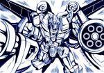 1boy autobot flying gatling_gun gun hasbro kamizono_(spookyhouse) machine machinery mecha monochrome no_humans optimus_prime robot science_fiction solo transformers transformers_prime weapon wings