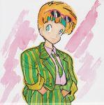 1girl ashida_toyoo chouriki_robo_galatt official_art oldschool patty_pumpkin scan simple_background solo striped_suit sunglasses sunglasses_on_head